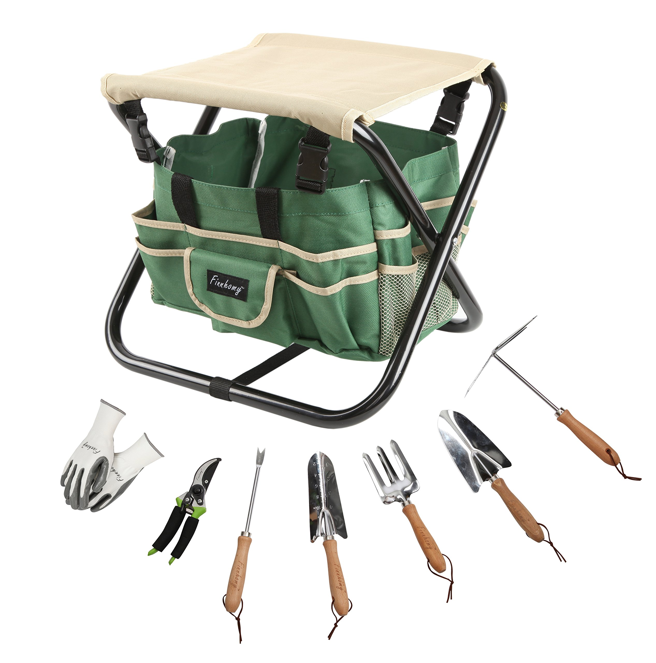 Finnhomy 9 Piece All-In-One Garden Tool Set Folding Stool Seat with 1 Tote Bag, 5 Chrome Steel Garden Tools, 1 Pruning Shears and 1 Pair Working Gloves