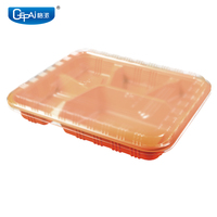disposable 5 compartment food container with multi-color