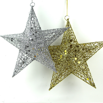 wholesale christmas tree decorative flash glitter metal christmas star decorations