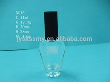 11ML N015 glass clear nail polish bottle with black cap