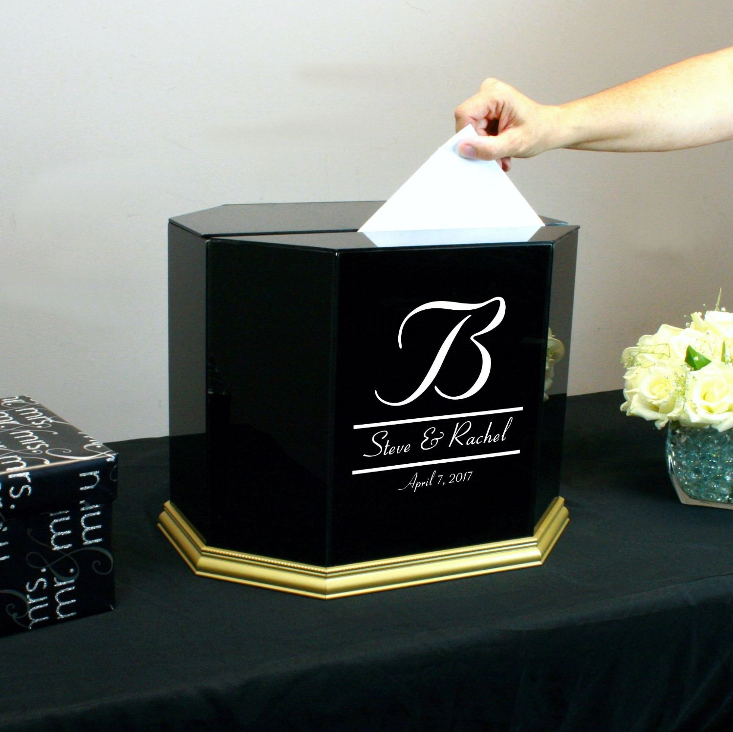 Buy Personalized Wedding Card Box Black Glass with Gold Trim in ...
