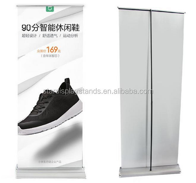 80200cm standing scrolling roll up banner stand pull out banner