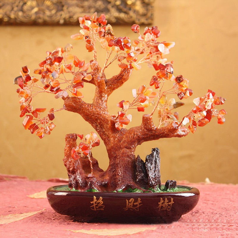 Chinese feng shui ornament resin Lucky money tree for home decor MT001orange