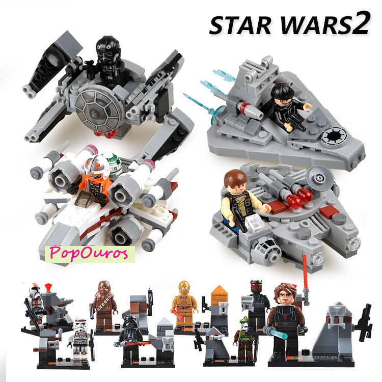 New 12pcs/lot ABS Star Wars Building Blocks With Airship DIY Star Wars Minifigures Compatible With Lego Bricks Educational Toys