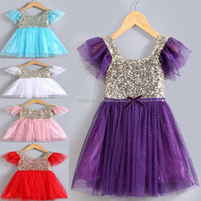 Princess girls simple sequin chiffon kids dress model