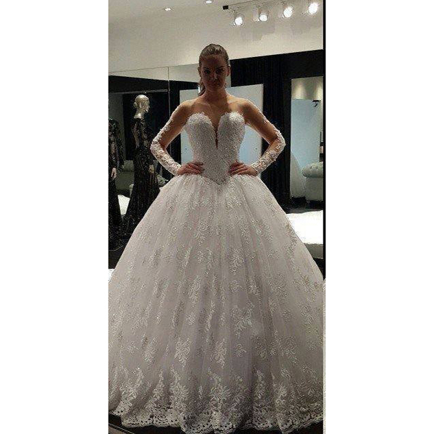 Sexy new arrival sweetheart long sleeve see-through zipper Bride gown lace applique pattern ball gown puffy weeding dress ss7