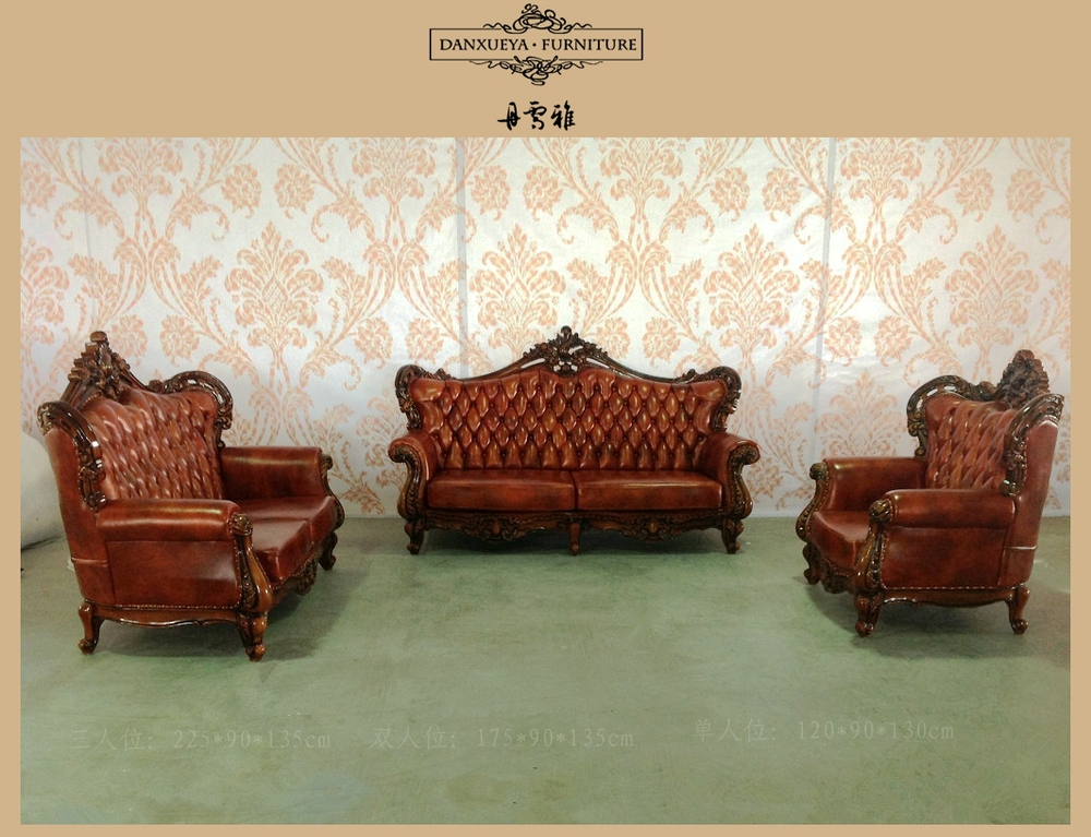Executive 5 Star Hotel Sofa Antique Wood Trim Sofa Office