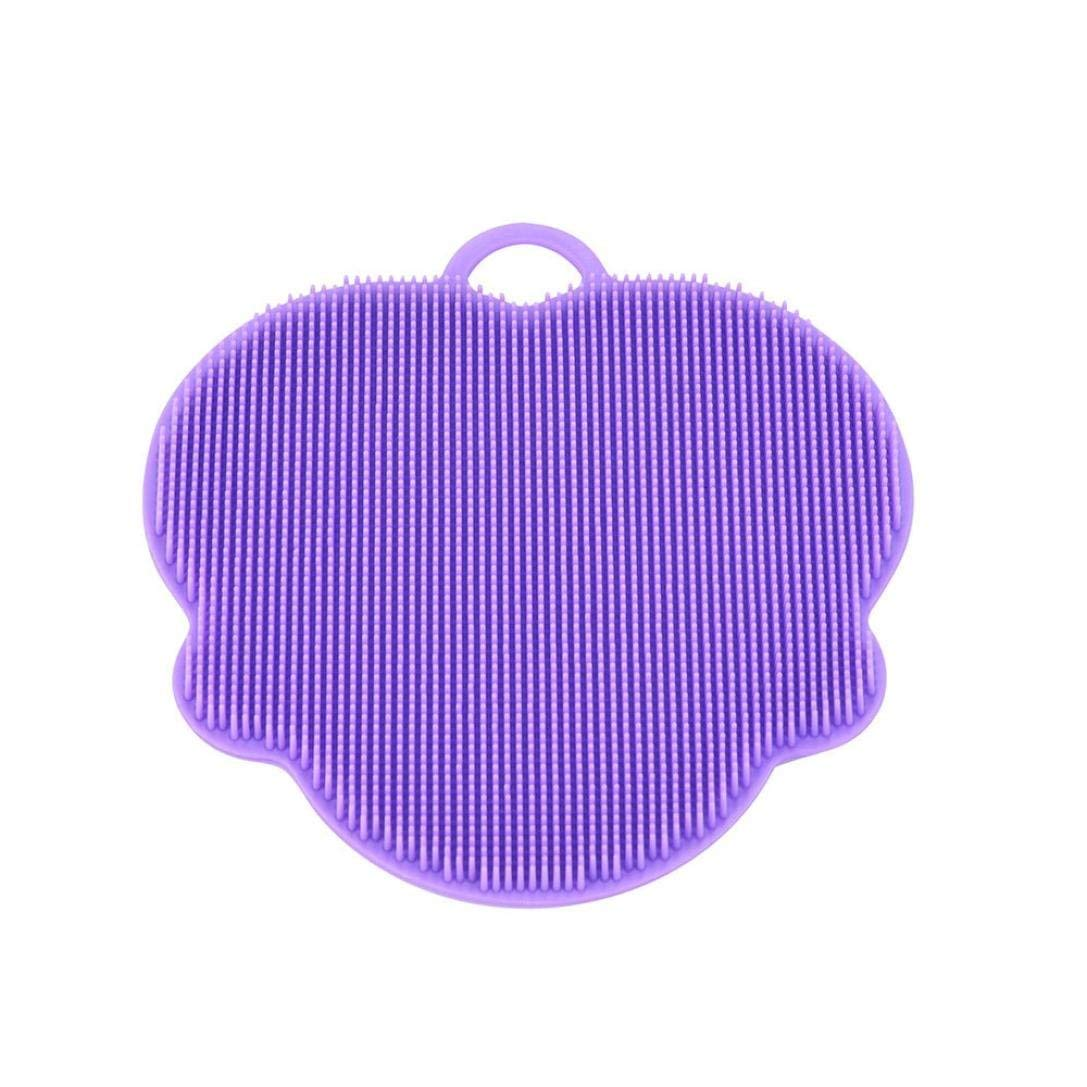 CieKen Antibacterial Silicone Non Stick Dish washing Dish Brush Sponge Silicone Dish Washing Sponge Towel Scrubber For Kitchen Wash Pot Pan Dish Bowl / Wash Fruit and Vegetable (B)