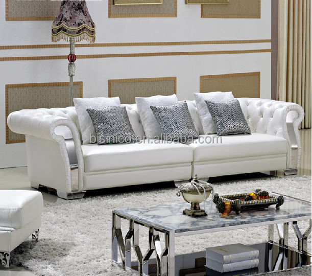 Pure Leather Sofa Sets: Pure White Chesterfield Leather Sofa,Coffee Table,Living