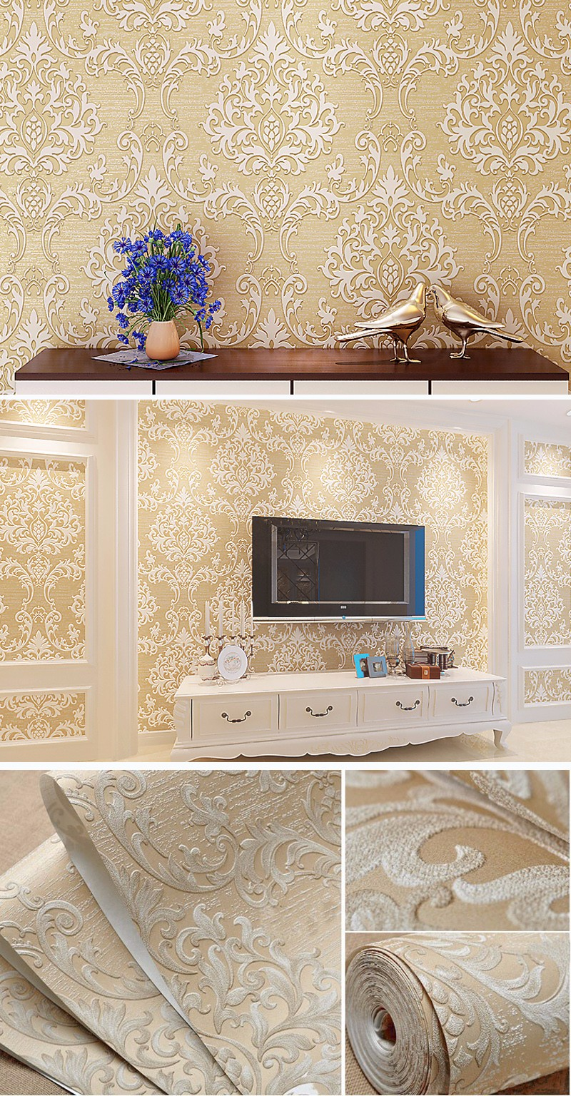 3d Embossed Floral Textured Damask Wallpaper Buy Non Woven