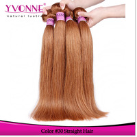 Natural straight cambodian human hair #30 color thick hair extensions