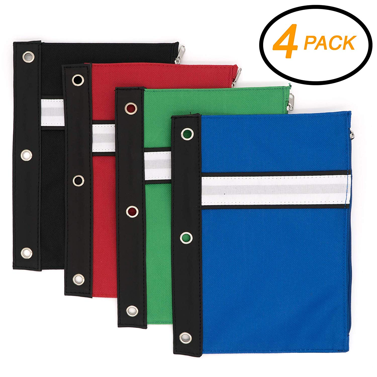 Emraw 3-Ring Pencil Pouches - Assorted Color Pencil Pouch with Double Zipper Pockets for 3-Ring Binder Pen Holder Case, Zipper Pencil Pouch with Side Pockets for Girls and Boys (4-Pack)