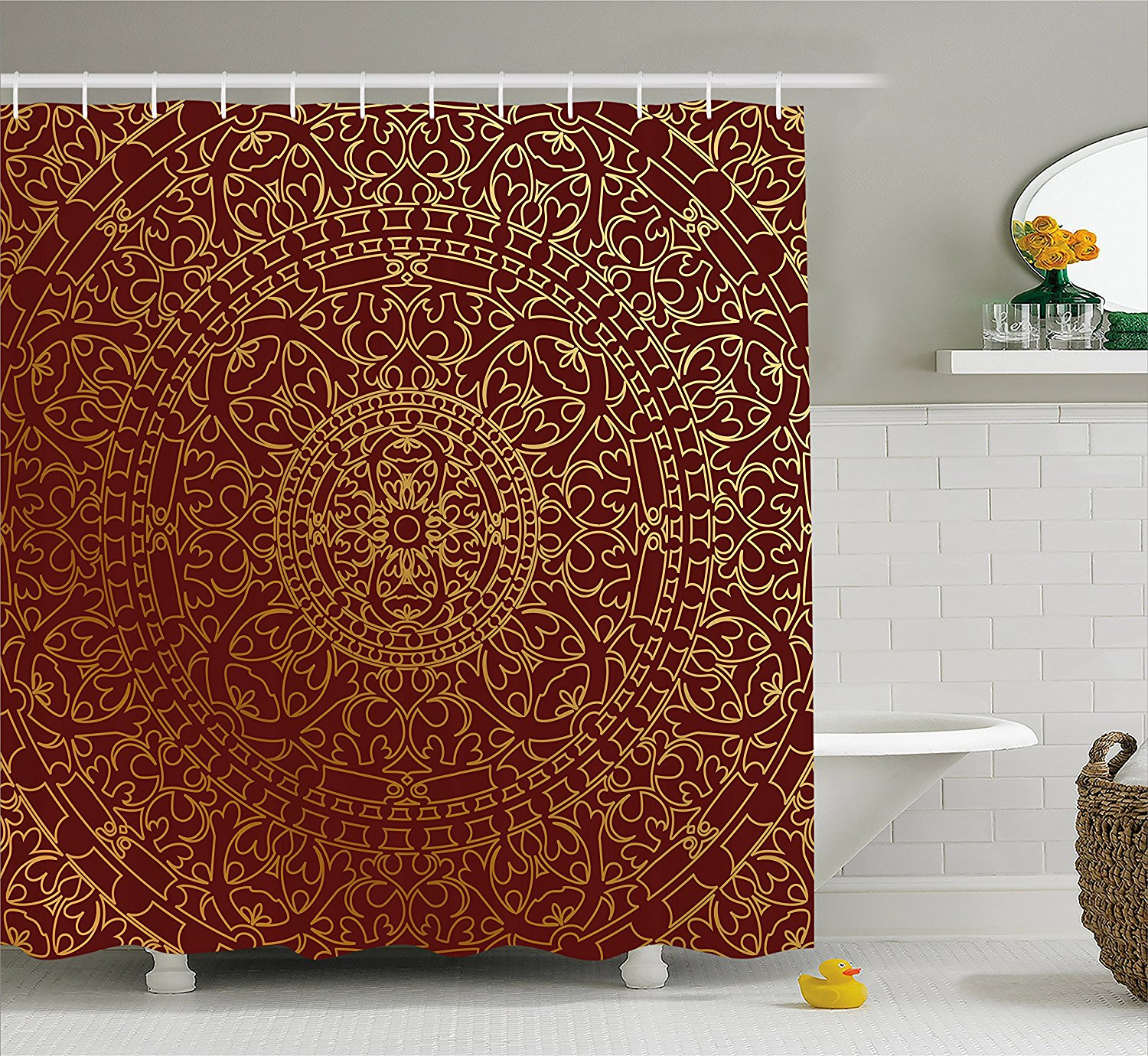 Ambesonne Maroon Shower Curtain by, Antique Arabic Artwork Oriental Mandala Inspired Round Ornament Moroccan Ethnic, Fabric Bathroom Decor Set with Hooks, 70 Inches, Gold Maroon