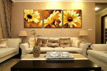 China Home Decor Wholesale Painted Pictures Sunflower Oil Canvas Flower Oil  Painting Wall Art Decor Paintings