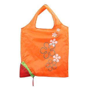 High quality recyclable 190d polyester material strawberry foldable shopping bag
