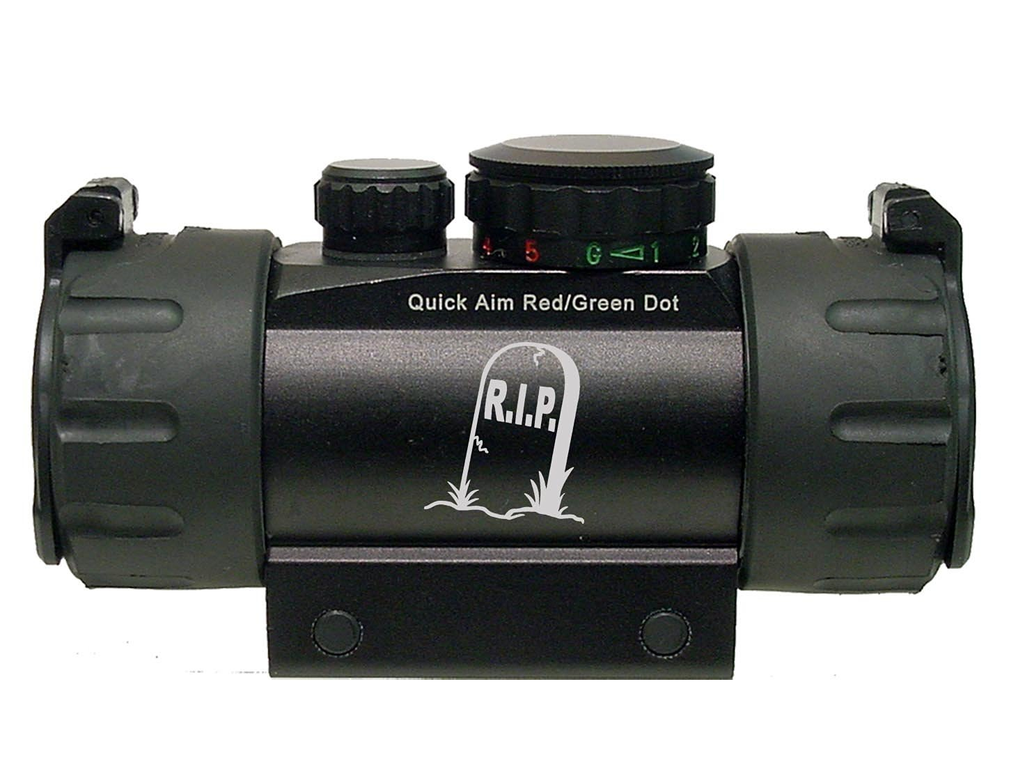 R.I.P. Tombstone Headstone Engraved Leapers UTG Red or Green DOT CQB Tactical sight by NDZ Performance