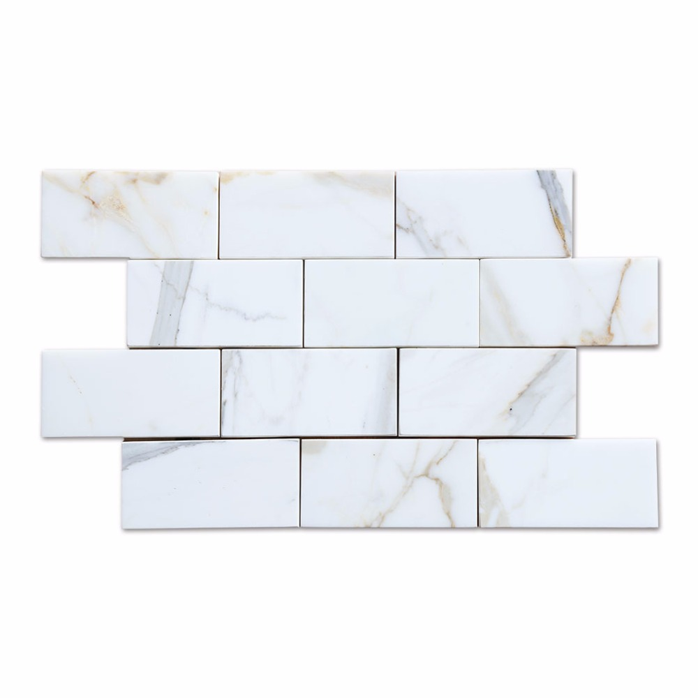 Polish White Brick Natural Marble Calacatta Gold Subway <strong>Tile</strong>