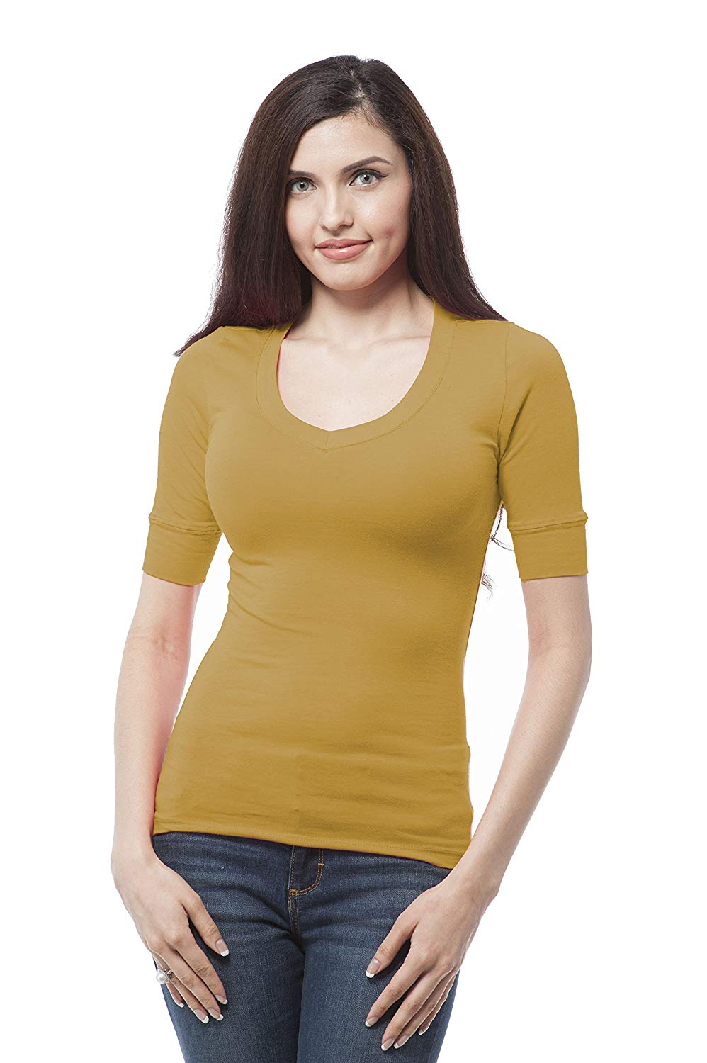 bc6ba583dc ... Stretch Seamless Strapless Layer Tube Top  8.99. Hollywood Star Fashion  Women s Plain Basic Elbow Length Sleeves V Neck Top Fitted Shirt