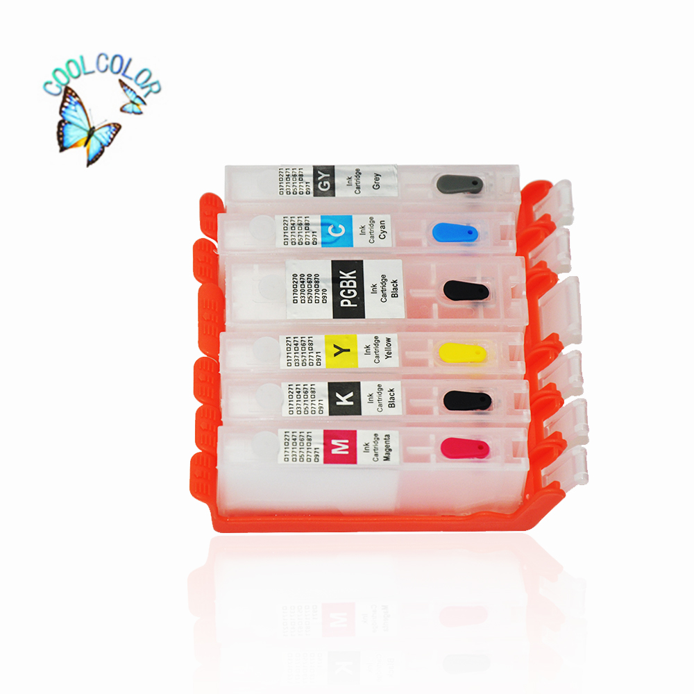 Factory Direct Sell Refillable Cartridge For Canon PIXMA MG7750/MG7751/MG7752 /MG7753(Six Colors)