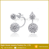 316L Surgical Stainless Steel Double Crystal Ball Shamballa Earring Studs
