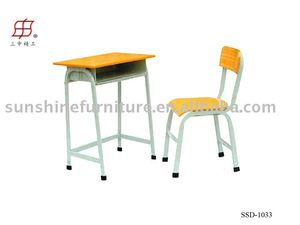 wooden steel student single desk and chair