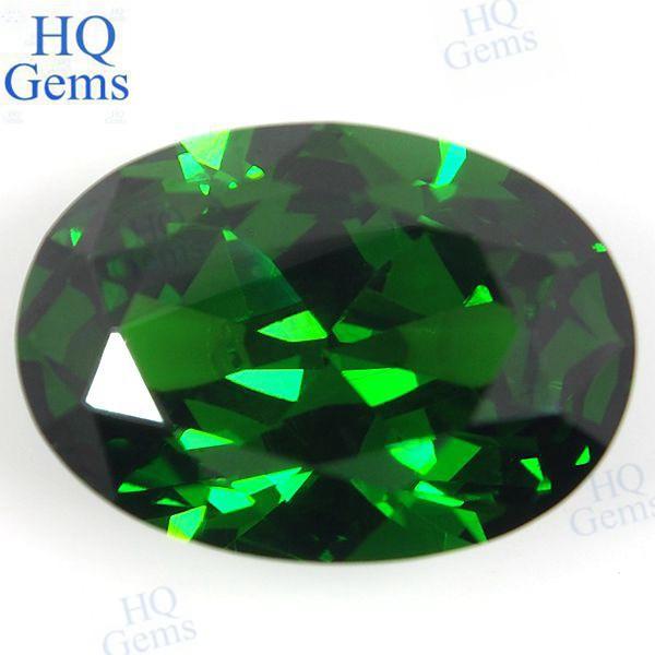 Green Gemstone Oval Synthetic Emerald Loose Zircon Stone