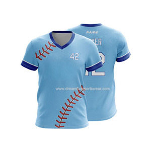 High quality men's v neck baseball jerseys wholesale 100% polyester plain sublimated baseball t shirt custom team baseball wear