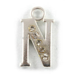 new cheap English letter N alloy charms with crystal