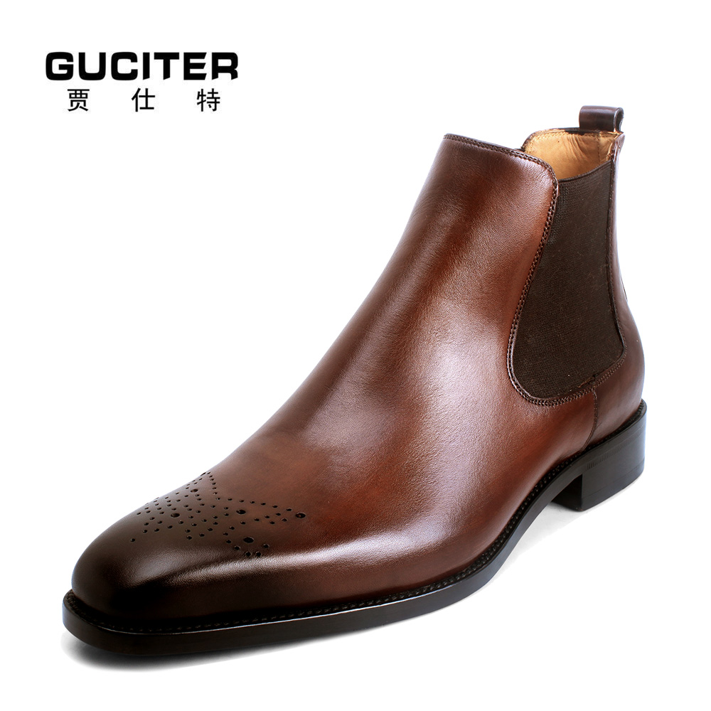 Goodyear boots Chelsea male casual short boots stretch set foot leather handmade custom shoes high quality shoes