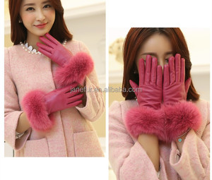 Nice sexy mistress pink kid leather gloves with pink fox fur wrist/ Hottest leather fur mittens