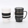 T042 Creative lens cup with handle stainless steel inner custom advertising cup camera cup