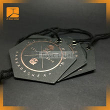 China customized shiny rose gold foil stamping hang tag for clothing