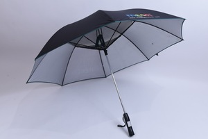A solar energy umbrella installed with an electric fan can shade a person form the sun or rain