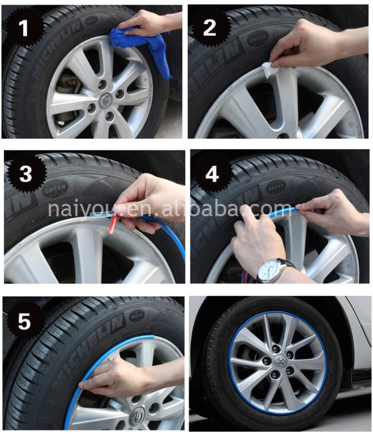 11 colors for car alloy wheel rims protector with 3m adhesive tape buy wheel protector wheel. Black Bedroom Furniture Sets. Home Design Ideas