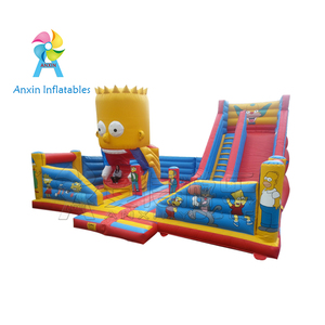 Hot sale outdoor commercial giant cheap cartoon design inflatable fun city playground with slide for kids