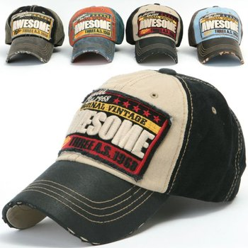 f4ad6fdda0efe ililily Distressed Vintage embroidered Patch Pre-curved Baseball Cap with  Adjustable Strap Snapback Trucker Hat