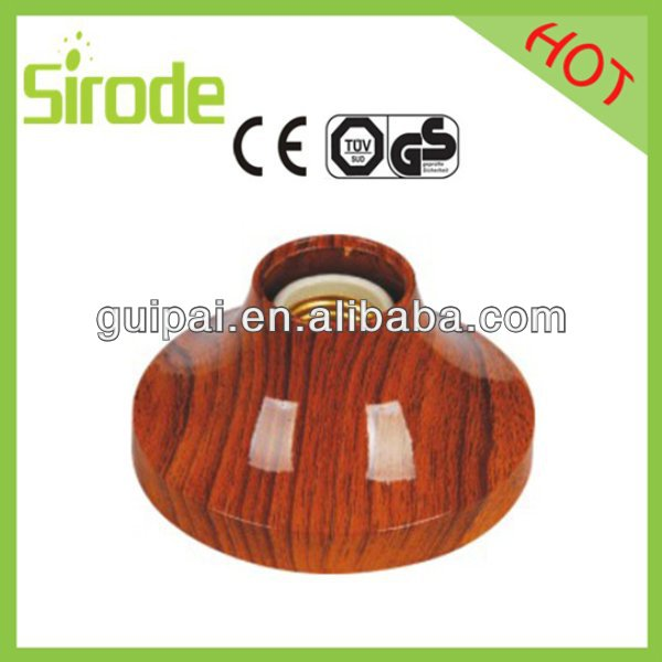 Home Appliance Electrical Light T8 Lamp Holder Wooden Color Style