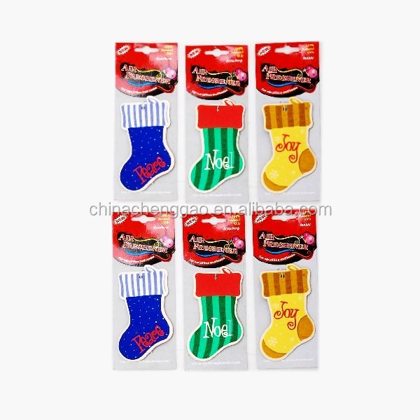 decorative lovely socks shaped car paper air freshener/paper perfume for Christmas Day