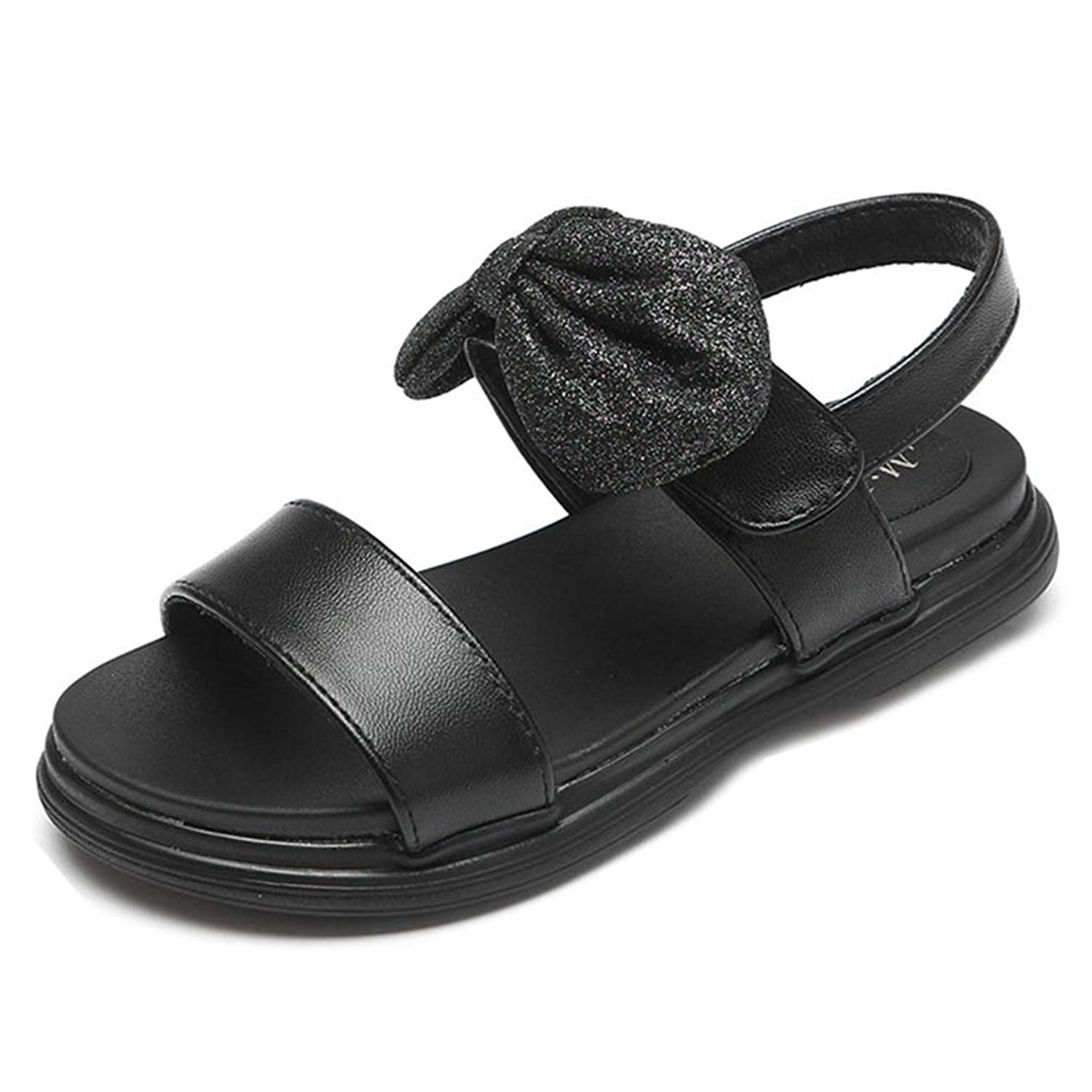 Girl's Summer Open Toe Bowknot Sandals Classic Summer Outdoor Slip On Ankle Strap Flat Sandal Shoes