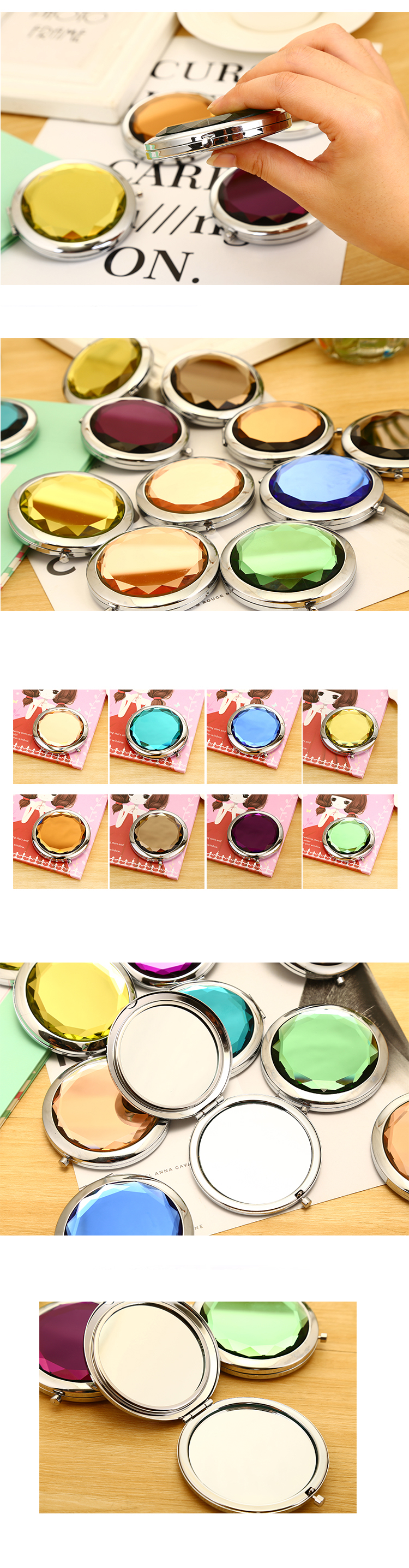 Fancy Customized various colors double sides Shining crystal makeup mirror
