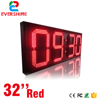 led digital alarm clock outdoor 32 inch red color display digital led counter size 2500x1000x90mm