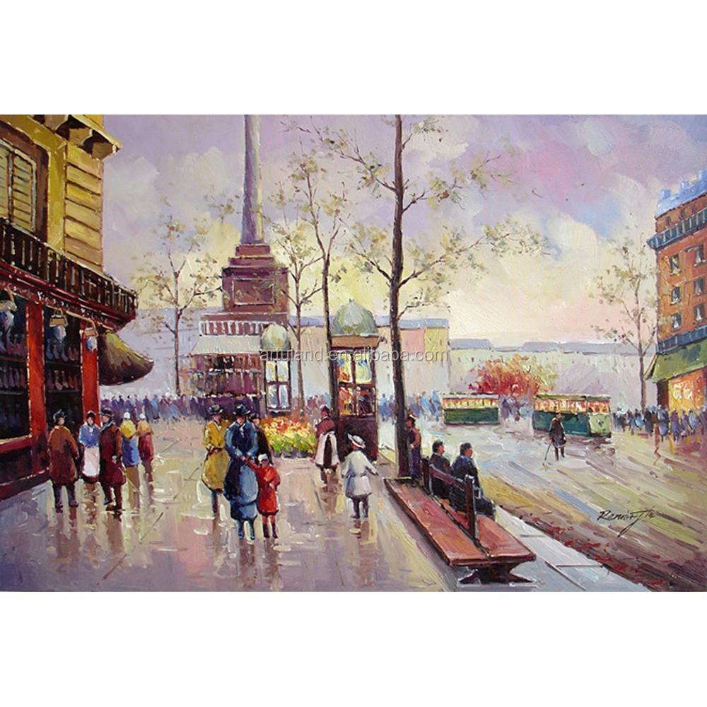belles peintures de paysage paris sc ne de rue peinture l 39 huile sur toile chine pour salon. Black Bedroom Furniture Sets. Home Design Ideas