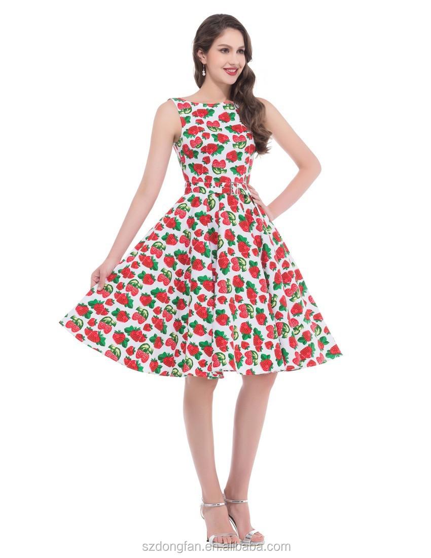 Impresión Floral 50 S 60 S Vintage Vestidos Sin Mangas 2016 Vestido ...