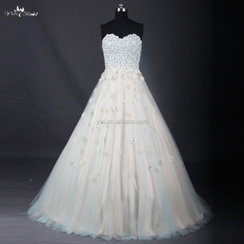 Rse702 Blue Turquoise And Champagne Long Puffy Free Custom Made Prom Dresses