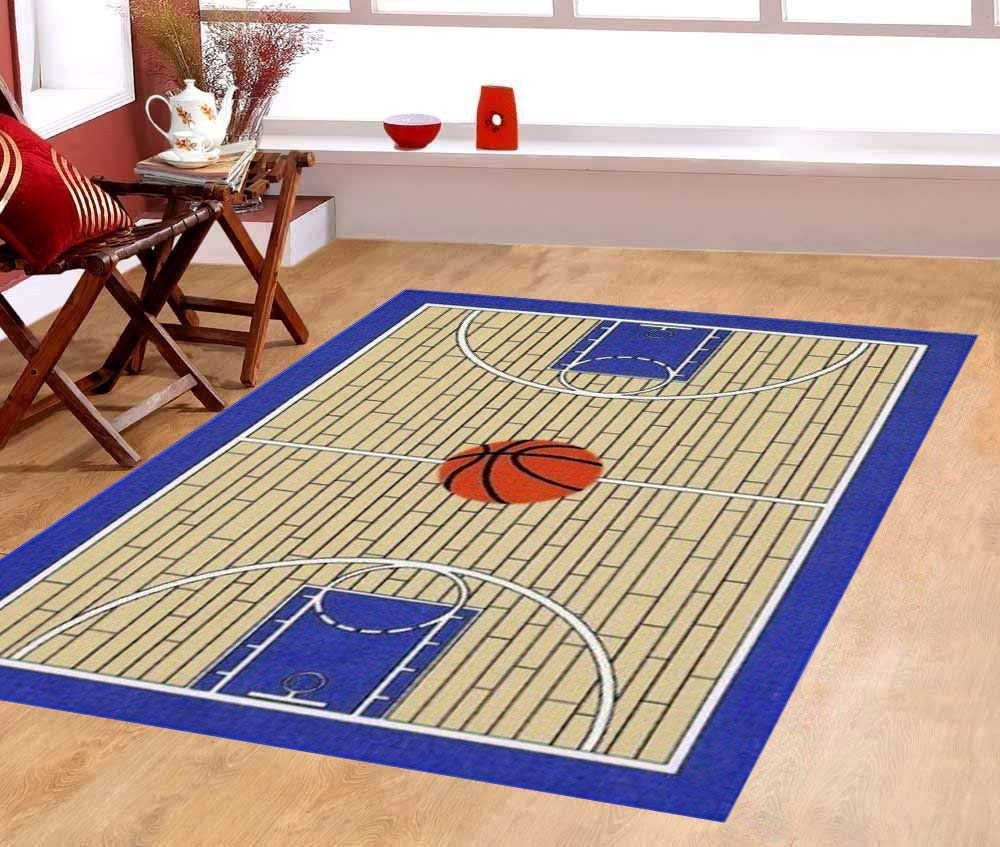 "Furnish my Place 695 3x5 Basketball Court Kids Blue Area Rug, 3'3"" x5"