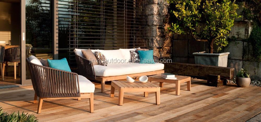 Garden Outdoor Furniture Teak Wood Base Rope Weaving Sofa JX 343 Part 55