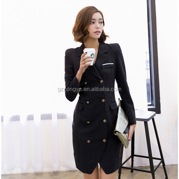 Long Sleeve Pinstriped Woman Dress Double Breasted Mandarin Collar