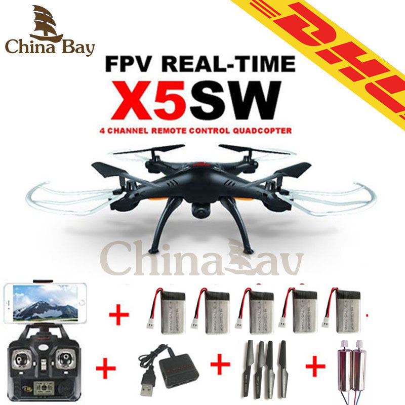 SYMA X5sw &X5C WIFI RC Drone FPV Quadcopter With 2MP Camera 2.4G 6-Axis Helicopter Toys with 5 batterys and 2 motor as gift