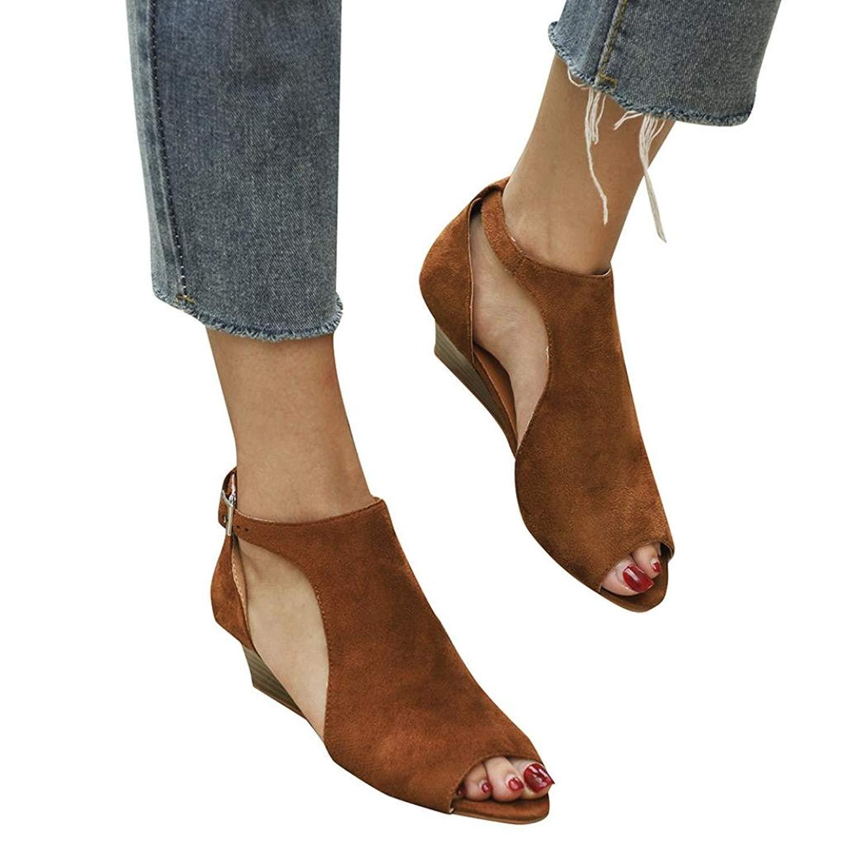 Alixyz Women's Roman Shoes Platform Wedge Sandals Ankle Strap Open Toe High Heel Shoes