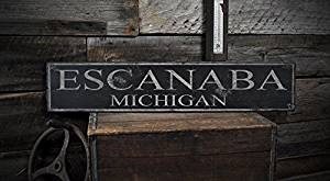 ESCANABA, MICHIGAN - Rustic Hand-Made Vintage Wooden USA City Sign - 5.5 x 24 Inches